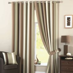 Whitworth Stripe Fully Lined Eyelet Curtains - Green