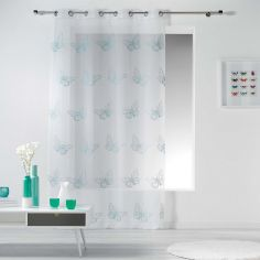 Papillona Butterfly Eyelet Voile Curtain Panel - White & Blue