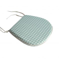 Gingham Check Tie On Seat Pad - Duck Egg Blue