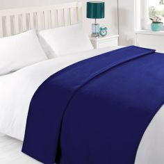 Plain Large Supersoft Fleece Blanket Throw - Navy Blue