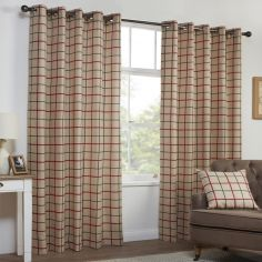 Highland Check Stripe Textured Eyelet Ring Top Curtains - Natural & Red