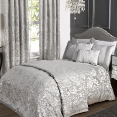 Charleston Jacquard Duvet Cover Set - Silver Grey
