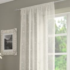 Ariana Floral Sequin Voile Slot Top Curtain Panel - Ivory Cream