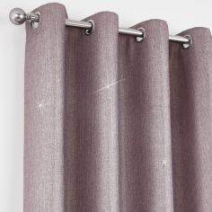 Catherine Lansfield Glamour Weave Eyelet Curtains - Heather Pink