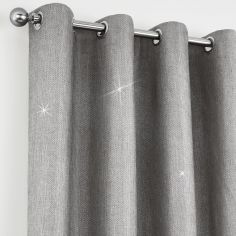 Catherine Lansfield Glamour Weave Eyelet Curtains - Silver Grey