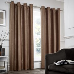 Catherine Lansfield Chelsea Fully Lined Eyelet Curtains - Natural