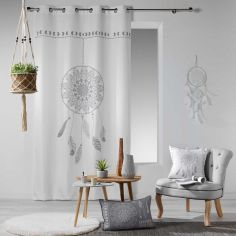 Reveline Printed Eyelet Curtain Panel - White