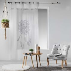 Reveline Printed Eyelet Voile Curtain Panel - White