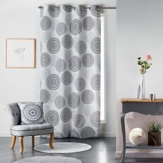 Romana Eyelet Curtain Panel with Circle Print - Black & White