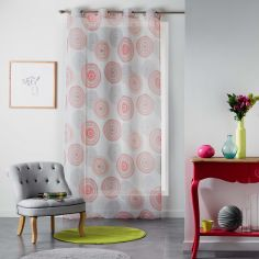 Romana Eyelet Voile Curtain Panel with Circle Print - Multi