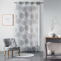 Romana Eyelet Voile Curtain Panel with Circle Print - Black & White