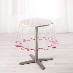Garden Clear Transparent PVC Tablecloth with Fuchsia Pink Edging