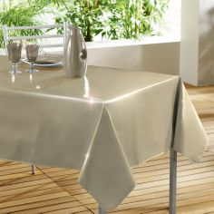 Glossy Lacquer Plain PVC Tablecloth - Beige