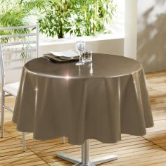 Glossy Lacquer Plain PVC Tablecloth - Brown