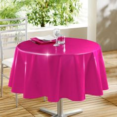 Glossy Lacquer Plain PVC Tablecloth - Fuchsia Pink