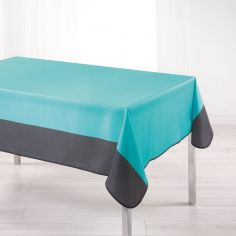 Garden Two-Tone Tablecloth - Aqua Blue & Charcoal Grey