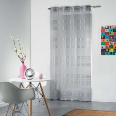 Sacha Striped Eyelet Voile Curtain Panel - Grey