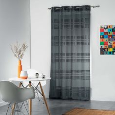 Sacha Striped Eyelet Voile Curtain Panel - Charcoal Grey