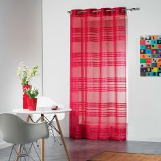Sacha Striped Eyelet Voile Curtain Panel - Raspberry Pink