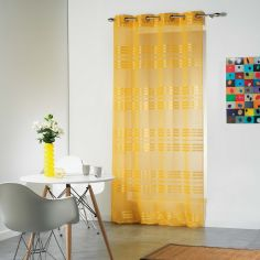 Sacha Striped Eyelet Voile Curtain Panel - Honey Yellow