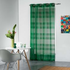 Sacha Striped Eyelet Voile Curtain Panel - Green