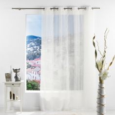 Salina Striped Eyelet Voile Curtain Panel - Ivory