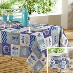 Escale Nautical Printed PVC Tablecloth - Blue