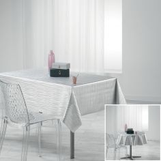 Wavy Metallic Look PVC Tablecloth - Silver Grey