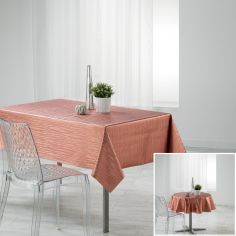 Wavy Metallic Look PVC Tablecloth - Rose Pink