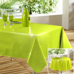 Glossy Lacquer Plain PVC Tablecloth - Lime Green