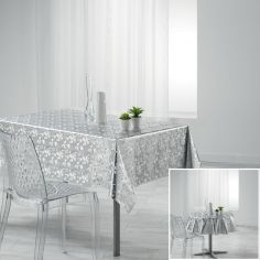 Luny PVC Tablecloth with Metallic Look - Silver Grey