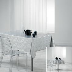 Luny PVC Tablecloth with Metallic Look - White