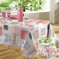 Carrea Printed PVC Tablecloth - Coral Orange