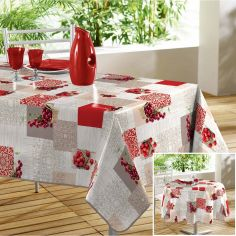 Bigarreau Cherry & Strawberry PVC Tablecloth - Red & Natural