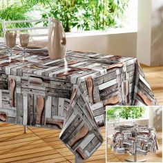 Cabanon Wooden Deck Printed PVC Tablecloth - Natural