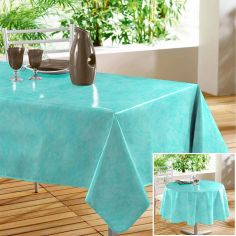 Beton Cire Plain PVC Tablecloth with Marble Effect - Blue