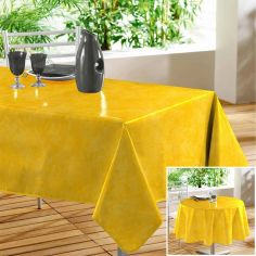 Beton Cire Plain PVC Tablecloth with Marble Effect - Yellow
