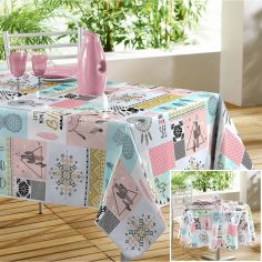 Optima Printed PVC Tablecloth - Mint Blue & Coral Pink