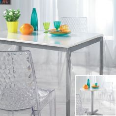 Transparent PVC Tablecloth with Flakes - Silver