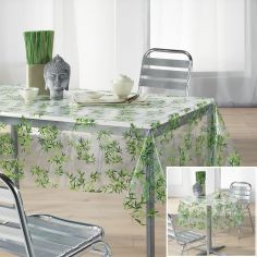 Bamboo Transparent PVC Tablecloth with Green Leaves