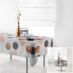 Odaly Tablecloth with Printed Circles - Grey & Copper