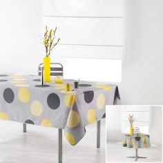 Odaly Tablecloth with Printed Circles - Grey & Yellow