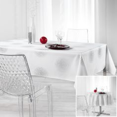 Atome Silver Printed Tablecloth - White