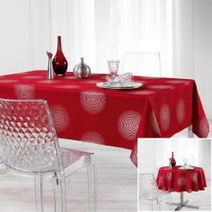 Atome Silver Printed Tablecloth - Red