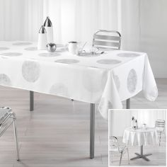 Platine Tablecloth with Silver Prints - White