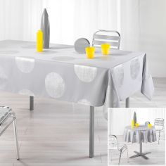 Platine Tablecloth with Silver Prints - Grey