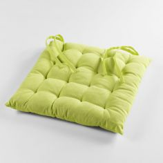 Pacifique Plain 100% Cotton Quilted Seat Pad - Lime Green