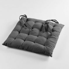 Pacifique Plain 100% Cotton Quilted Seat Pad - Charcoal Grey