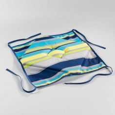 Marina Printed Chair Seat Pad with 4 Flaps - Blue & Yellow