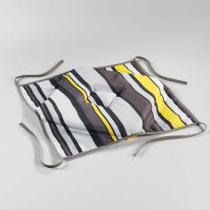 Marina Printed Chair Seat Pad with 4 Flaps - Grey & Yellow